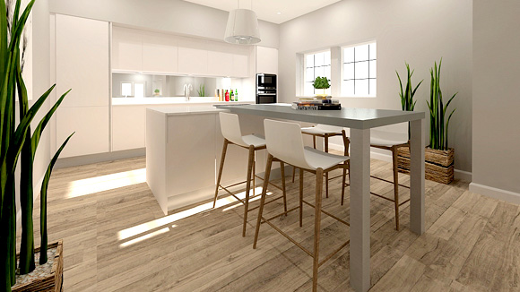 View 3 of the generously sized open plan kitchen, ding and living space at Gartur Cottage
