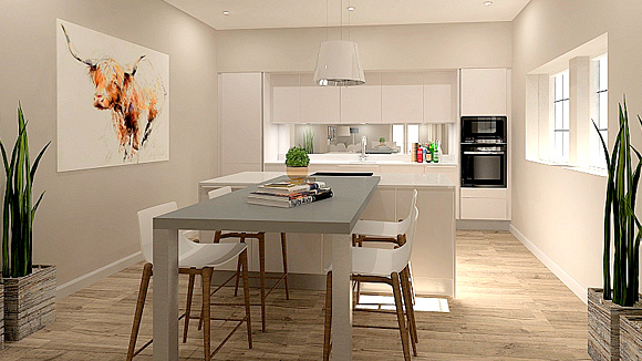 View 4 of the generously sized open plan kitchen, ding and living space at Gartur Cottage