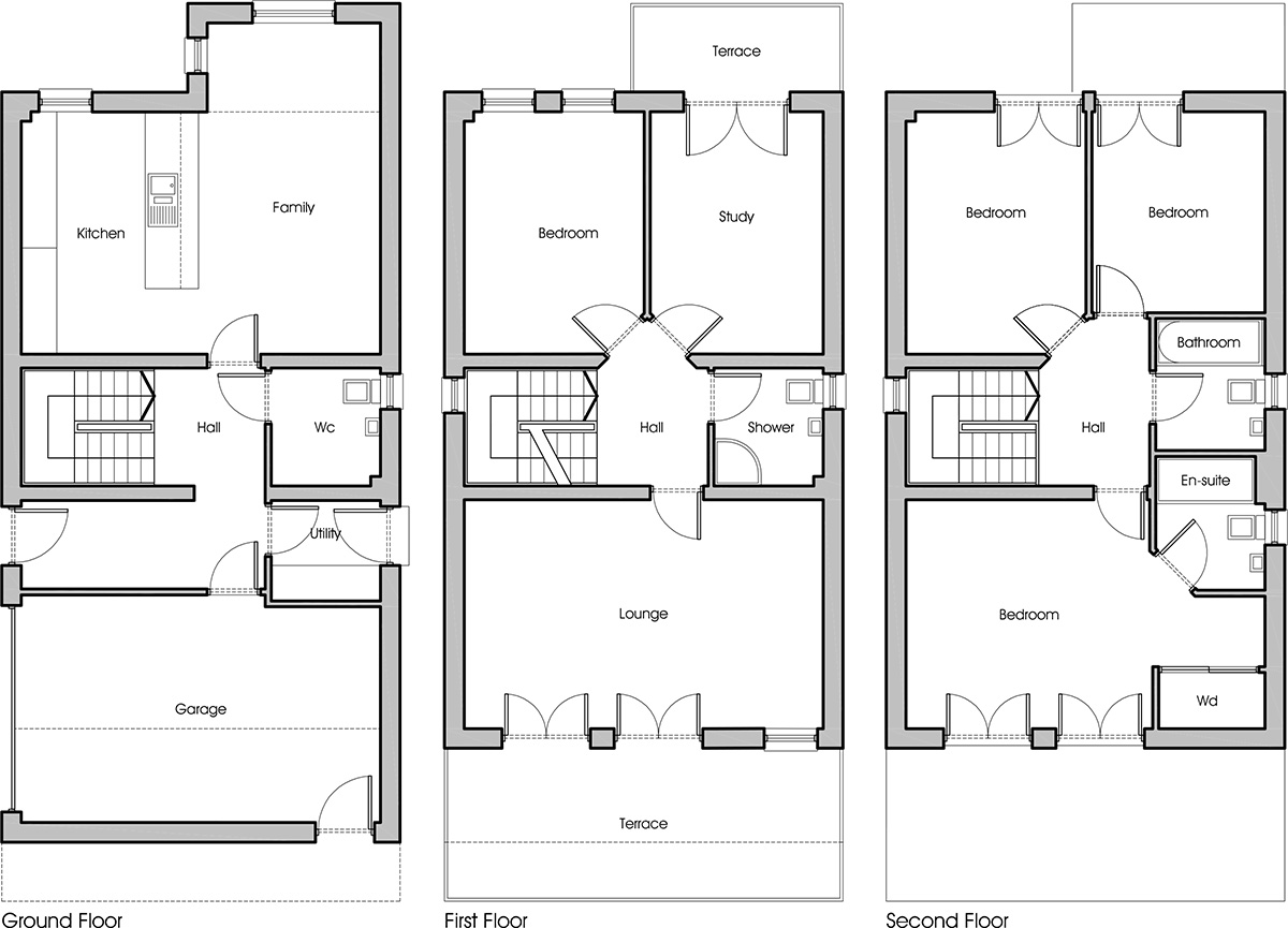 Floorplan of the three storey, five bedroom townhouse at Juniper Green.