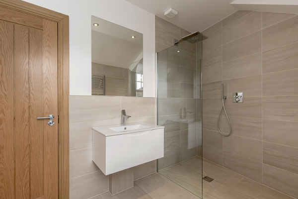 Wet room design with wall hung vanity unit